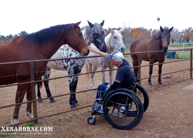 Frank Ellis, Board Member, Paralyzed Veterans of America, Houston Chapter, meets Xena and crew during a visit to All Xena's Horses, LLC to consult on facility accessibility in late 2013.  Learn more about The Xena Project, an outreach initiative for veterans, by veterans, at xenahorse.com (Photo by Jan Shultis, All Xena's Horses / RELEASED)