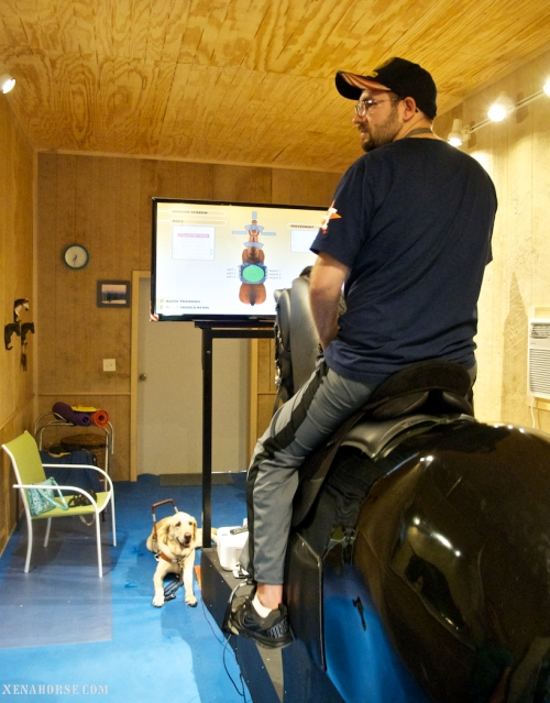 Marine Corps veteran Steven Schulz checks his riding position in the mirror while service dog Sonny looks on.  Schulz, who incurred Traumatic Brain Injury and associated paralysis while serving in Iraq, rode Xena, the fully interactive riding simulator, during a trip to The Xena Project, located west of Houston, Texas, on October 1st, 2014. Learn more about The Xena Project, where veterans serve veterans and horses heal everyone, at xenahorse.com. (Photo by The Xena Project / RELEASED)