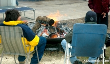 Veterans enjoy a bonfire at The Xena Project.